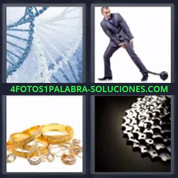 4 Fotos 1 Palabra - ocho-letras adn tornado, Hombre con bola de preso en el pie, Piñones y platos de bicicleta