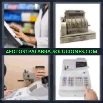 4 Fotos 1 Palabra - cinco-letras caja registradora, Cajera, Calculadora, Persona cobrando en tienda, Caja registradora antigua.