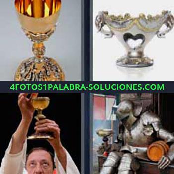 4 Fotos 1 Palabra - cinco-letras copa ganador trofeo. Cura levantando copa. Armadura de hierro de la edad media.