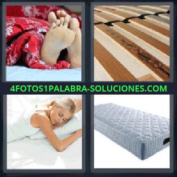 4 Fotos 1 Palabra - siete-letras colchón, pies, somier, chica durmiendo, colchón.