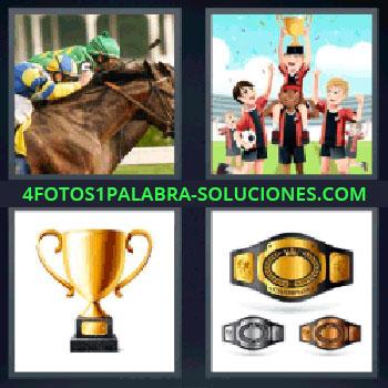 4 Fotos 1 Palabra - siete-letras carrera de caballos. Entrega medallas. Copa. Cinturon de ganadores.