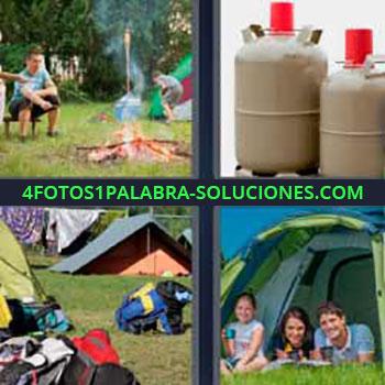 4 Fotos 1 Palabra - siete-letras acampar. Hoguera o fogata. Botellas o bombonas de gas butano. Casa de acampar. Tiendas de campaña.