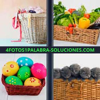 4 Fotos 1 Palabra - cinco-letras cesto de ropa. Cesta llena de verduras y frutas. Huevos pintados de Pascua. Gatitos grises o negros.