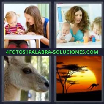 4 Fotos 1 Palabra - seis-letras canguro niños, Mama con niña, Señorita con dos niños jugando, Canguro, Dibujo de paisaje australiano.