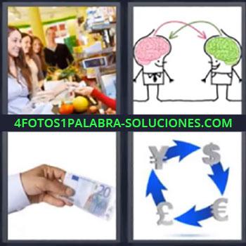 4 Fotos 1 Palabra - cinco-letras 20 euros, Chicas comprando en supermercado, Dibujo de dos cerebros rosa y verde, Dibujo con cambio de monedas o divisas.