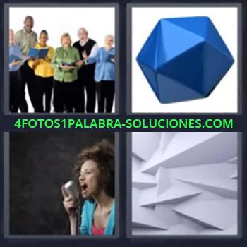 4 Fotos 1 Palabra - cinco-letras coro, Pieza geométrica, Chica cantando, Formas geométricas