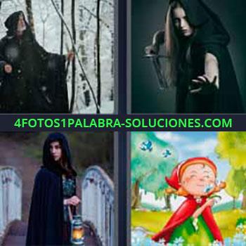4 Fotos 1 Palabra - cinco-letras mago en el bosque. Mujer con espada y capa negra. Mujer en un puente con un candil. Caperucita roja.