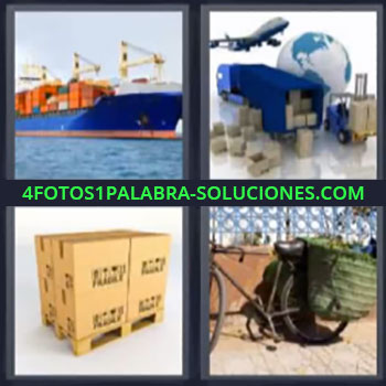 4 Fotos 1 Palabra - cinco-letras barco de mercancías, Medios de transporte, Pallet con cajas, Bicicleta transportando con alforjas