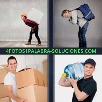4 Fotos 1 Palabra - cinco-letras hombre llevando cajas. Chico con mochila pesada en la espalda. Llevando bultos. Hombre llevando garrafón de agua.