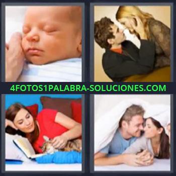 4 Fotos 1 Palabra - cinco-letras bebe pareja, Mujer en el sofa con un perro, Pareja en la cama.