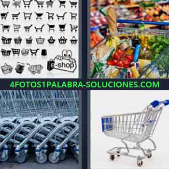 4 Fotos 1 Palabra - seis-letras carro con frutas y verduras. Dibujos diferentes carro y cestas de la compra. Comprando en el supermercado. Fila de carros de la compra.