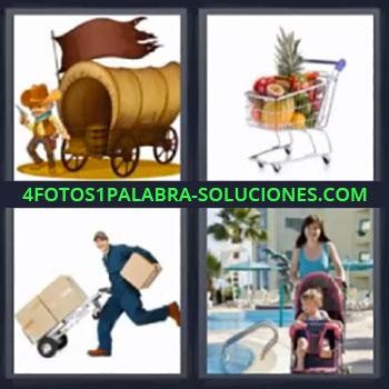4 Fotos 1 Palabra - cuatro-letras carreta del oeste, Carrito de la compra, Mensajero o transportista, Cochecito de bebe