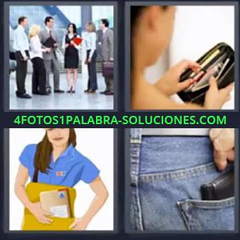 4 Fotos 1 Palabra - siete-letras billetera en el bolsillo, Grupo de negocios hablando, Chica con monedero, Trabajadora de correos, Mano cogiendo billetera.