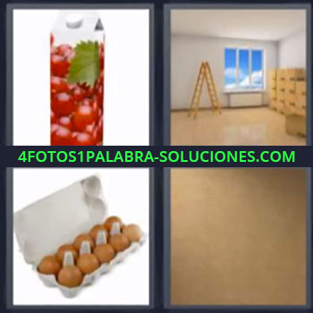 4 Fotos 1 Palabra - cinco-letras huevos, Tetrabrik, Envase, Sala diáfana con escalera y ventana con cielo azul