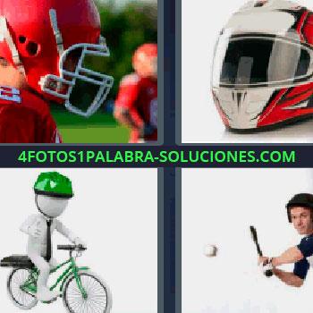 4 Fotos 1 Palabra - cinco-letras bicicleta verde, jugadores de rugby, casco de moto blanco y rojo, jugando al beisbol dándole a la pelota.