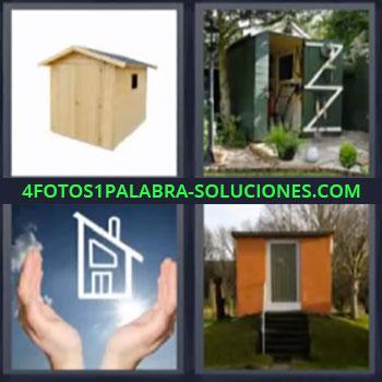 4 Fotos 1 Palabra - seis-letras casa madera, Casita, Dibujo casa entre manos, Refugio en el bosque