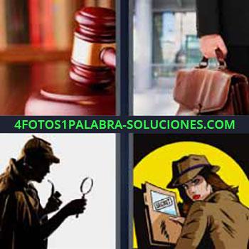 4 Fotos 1 Palabra - tres-letras martillo de juicio. Persona llevando maletín. Detective. Dibujo mujer con sombrero.