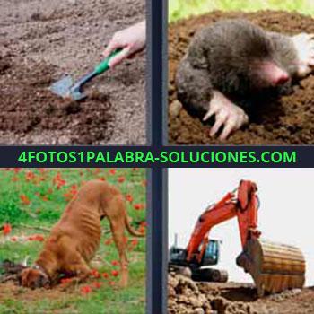 4 Fotos 1 Palabra - ocho-letras excavadora grande. Con una pala en huerto. Animales escarbando en la tierra. Perro haciendo agujero.