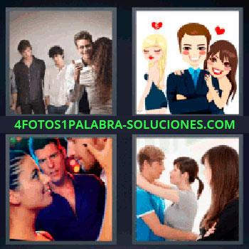 4 Fotos 1 Palabra - seis-letras amor, Dibujo hombre mujeres y corazones, Chico con cara de envidia al ver a chica con otro, Pareja abrazados y chica mirando.