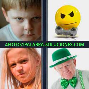 4 Fotos 1 Palabra - niño enojado. Pelota amarilla con control juegos. Niña rubia enfadada. Señor con sombrero verde.