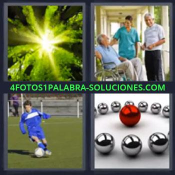 4 Fotos 1 Palabra - cinco-letras luz del sol bosque, Hospital o geriátrico, Niño jugando fútbol, Bolas plateadas y una roja