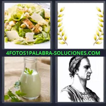 4 Fotos 1 Palabra - ocho-letras ensalada, Corona de laureles, Bote o recipiente de cristal con salsa, Dibujo de señor romano
