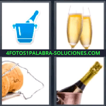 4 Fotos 1 Palabra - siete-letras champagne. Botella en hielera azul. Copas. Tapón de corcho. Tapón de botella. Botella de champagne o champaña.