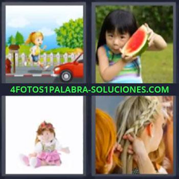 4 Fotos 1 Palabra - niña sandia, Dibujo niña corriendo, Muñeca, Peinando a mujer