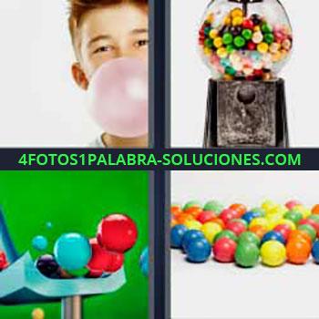 4 Fotos 1 Palabra - seis-letras golosinas. Niño haciendo pompas con chicle. Bolas de colores.