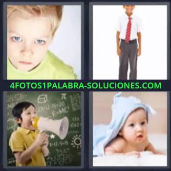 4 Fotos 1 Palabra - niño rubio, Niño con traje, Niño con megáfono, Bebe en la cama