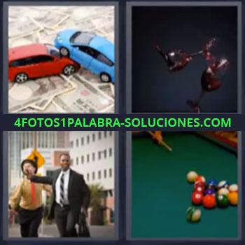 4 Fotos 1 Palabra - siete-letras copas de vino. Coches juguete sobre dinero. Mesa y bolas de billar.