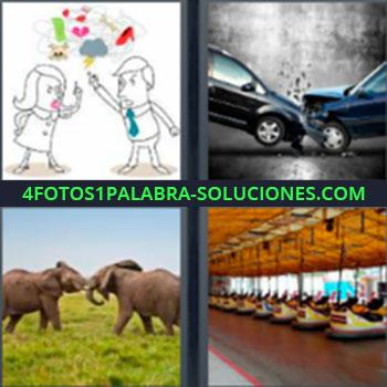 4 Fotos 1 Palabra - ocho-letras elefantes. Dibujo niño y niña discutiendo. Accidente de coches. Carros chocados. Dos elefantes peleando. Autos de choque.