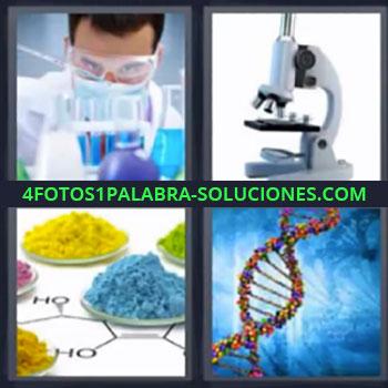 4 Fotos 1 Palabra - microscopio, Persona en laboratorio, Platos con productos de colores, Cadena de ADN.