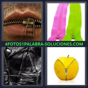 4 Fotos 1 Palabra - cinco-letras boca cremallera, Cremalleras en bolsa y en manzana