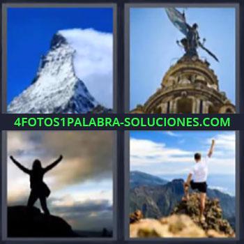 4 Fotos 1 Palabra - pico montaña nevada, Monumento, Mujer con brazos en alto, Hombre en lo alto de una montaña o sierra