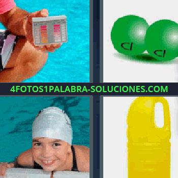 4 Fotos 1 Palabra - tres-letras botella amarilla de lejía, bolas verdes, midiendo calidad del agua de una piscina o alberca, niña con gorro de natación en el borde de la piscina.
