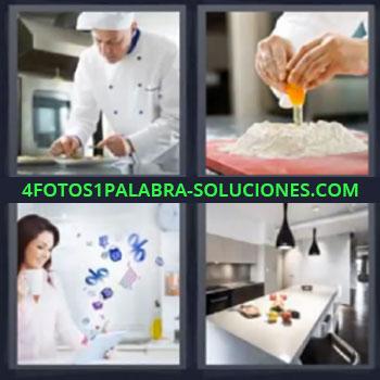 4 Fotos 1 Palabra - ocho-letras cocinero o chef, Preparando pay o tarta con huevo, Mujer con taza en la mano, Barra o mesa para comer