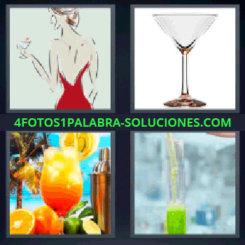 4 Fotos 1 Palabra - mujer copas. Bebida naranja. Liquido verde.