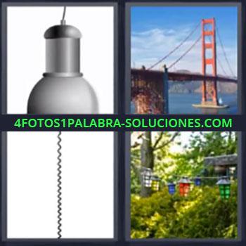 4 Fotos 1 Palabra - cinco-letras lampara puente, Cable, Lamparas de colores en campo