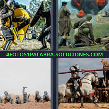 4 Fotos 1 Palabra - cinco-letras guerras. Guerreros templarios. Ejercito. Militares. Caballero con lanza a caballo.