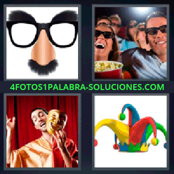 4 Fotos 1 Palabra - cuatro-letras gafas con bigote, Lentes con mostacho, Cine con palomitas, Teatro con mascara, Gorro de colores.
