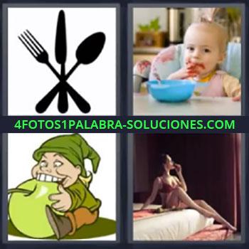4 Fotos 1 Palabra - siete-letras cubiertos, Bebe comiendo, Duende con manzana, Mujer en cama
