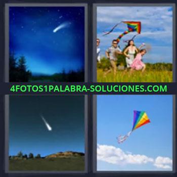 4 Fotos 1 Palabra - ocho-letras estrella fugaz, Papalote, Meteoro o meteorito