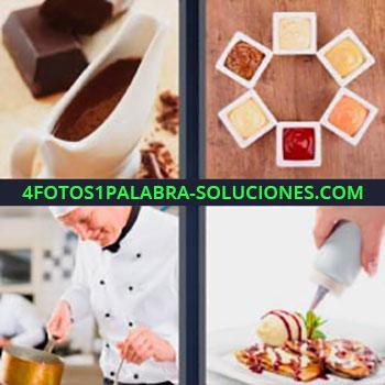 4 Fotos 1 Palabra - cuatro-letras chocolate. Tarros con salsas. Chef o cocinero. Preparando un postre