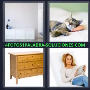 4 Fotos 1 Palabra - mueble gato, Mujer acostada leyendo