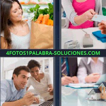 4 Fotos 1 Palabra - mujer con bolsa de la compra. Persona pagando con tarjeta. Hombre y mujer con computadora. Maqueta casa y personas.