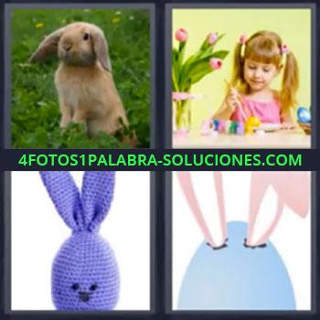 4 Fotos 1 Palabra - cinco-letras liebre niña pintando, Dibujo orejas animal