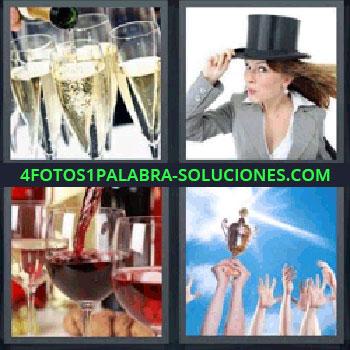4 Fotos 1 Palabra - mujer con sombrero, Brindando con Champán, Sirviendo vino, Manos levantando un trofeo.