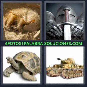 4 Fotos 1 Palabra - cinco-letras armadillo tortuga, Armadura y espada, Tanque