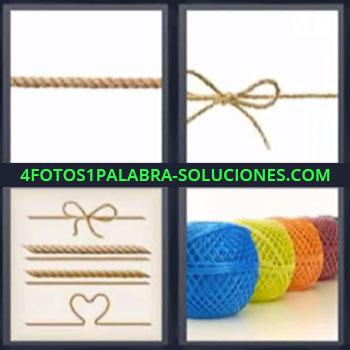 4 Fotos 1 Palabra - seis-letras cuerdas. Cuerda con lazo. Diferentes formas con cuerdas. Ovillos de cuerdas de colores.